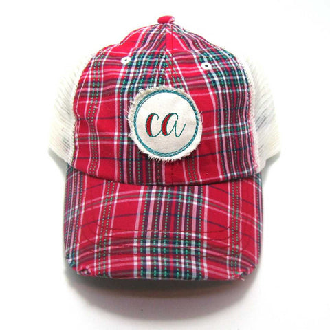 California Hat - Plaid Trucker with CA Distressed Patch