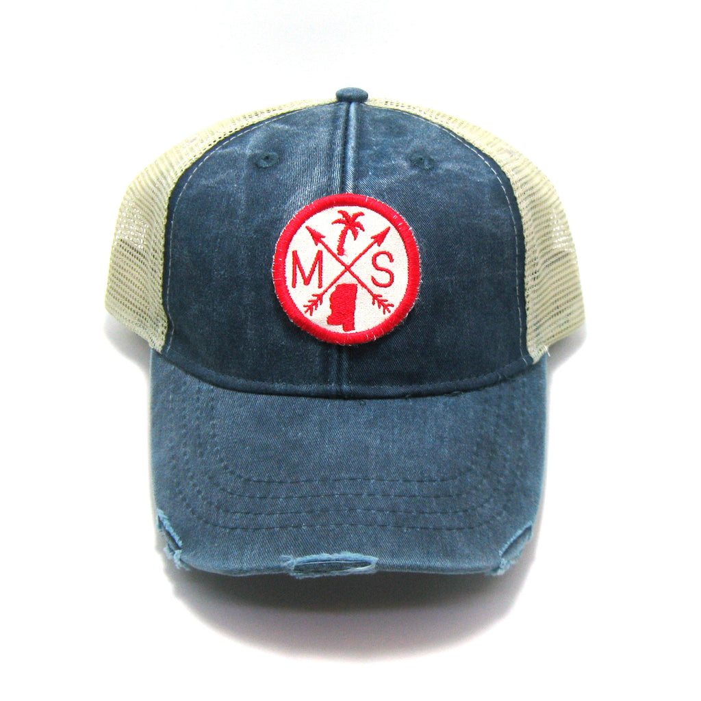 Mississippi Hat - Distressed Snapback Trucker Hat - Mississippi Arrow Compass