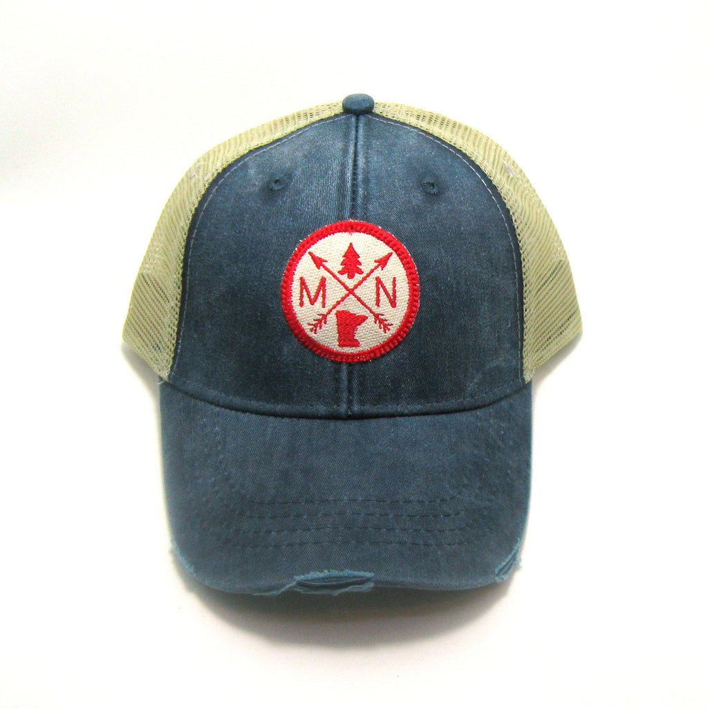 Minnesota Hat - Distressed Snapback Trucker Hat - Minnesota Arrow Compass