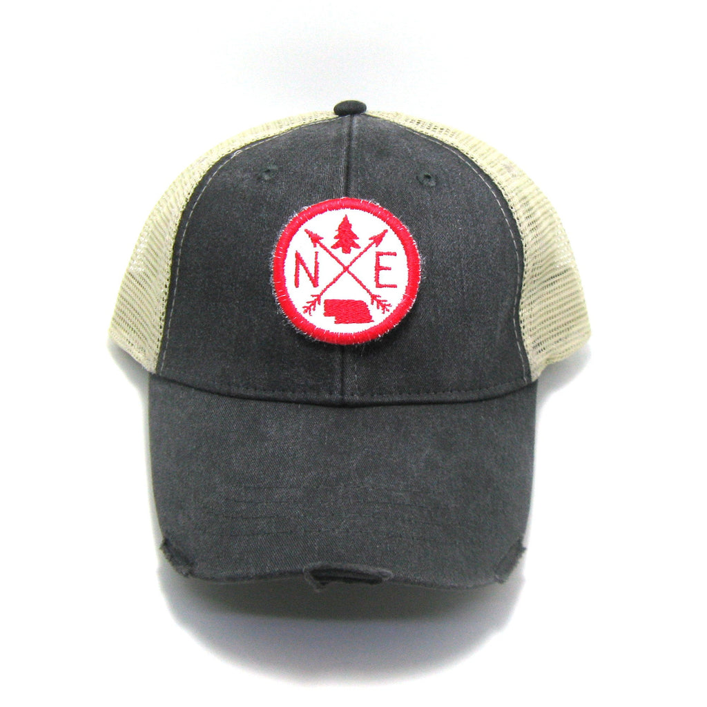 Nebraska Hat - Distressed Snapback Trucker Hat - Nebraska Arrow Compass