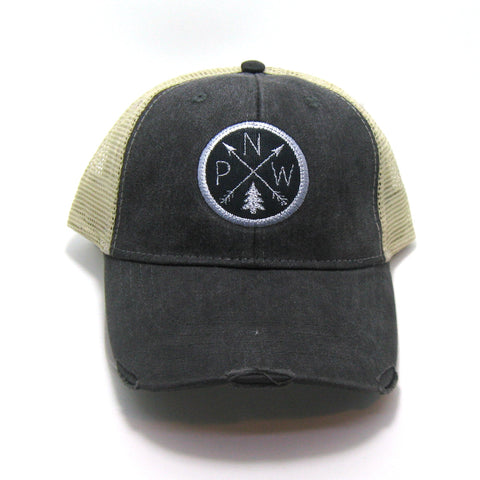 Pacific Northwest Hat - Black Distressed Snapback Trucker Hat - PNW Arrow Compass