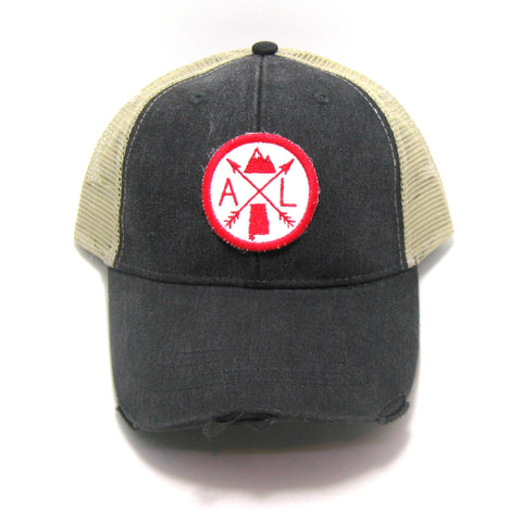 Alabama Hat - Distressed Snapback Trucker Hat - Alabama Arrow Compass