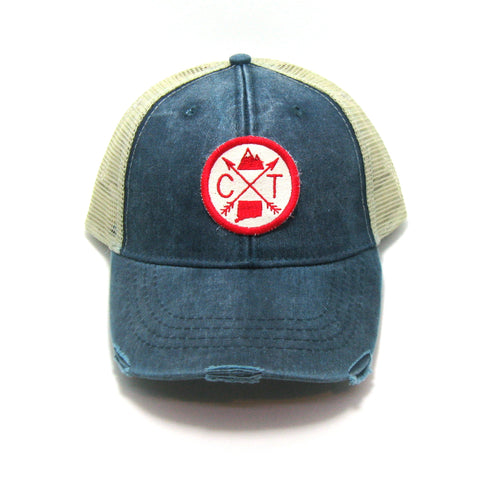 Connecticut Hat - Distressed Snapback Trucker Hat - Connecticut Arrow Compass