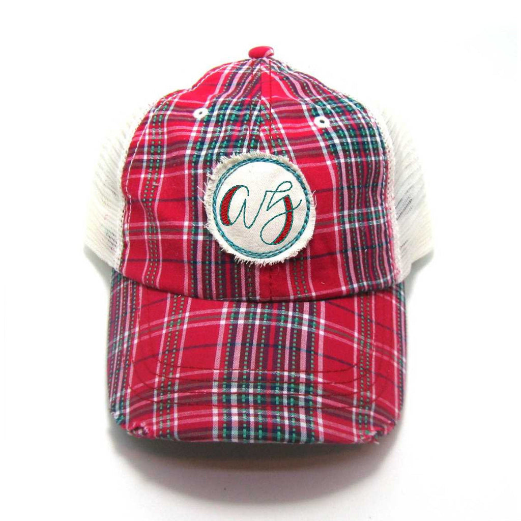 Red, Black, or Aqua Arizona Hat - Plaid Script AZ Distressed Patch