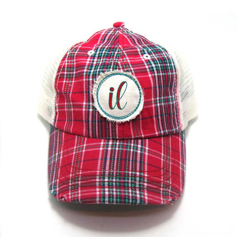 Illinois Hat - Plaid Trucker with IL Distressed Patch