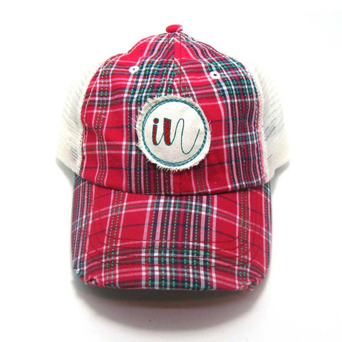 Indiana Hat - Plaid Trucker with IN Distressed Patch