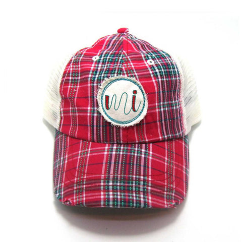 Michigan Hat - Plaid Trucker with MI Distressed Patch