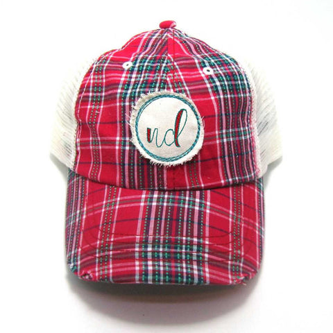 North Dakota Hat - Plaid Trucker with ND Distressed Patch
