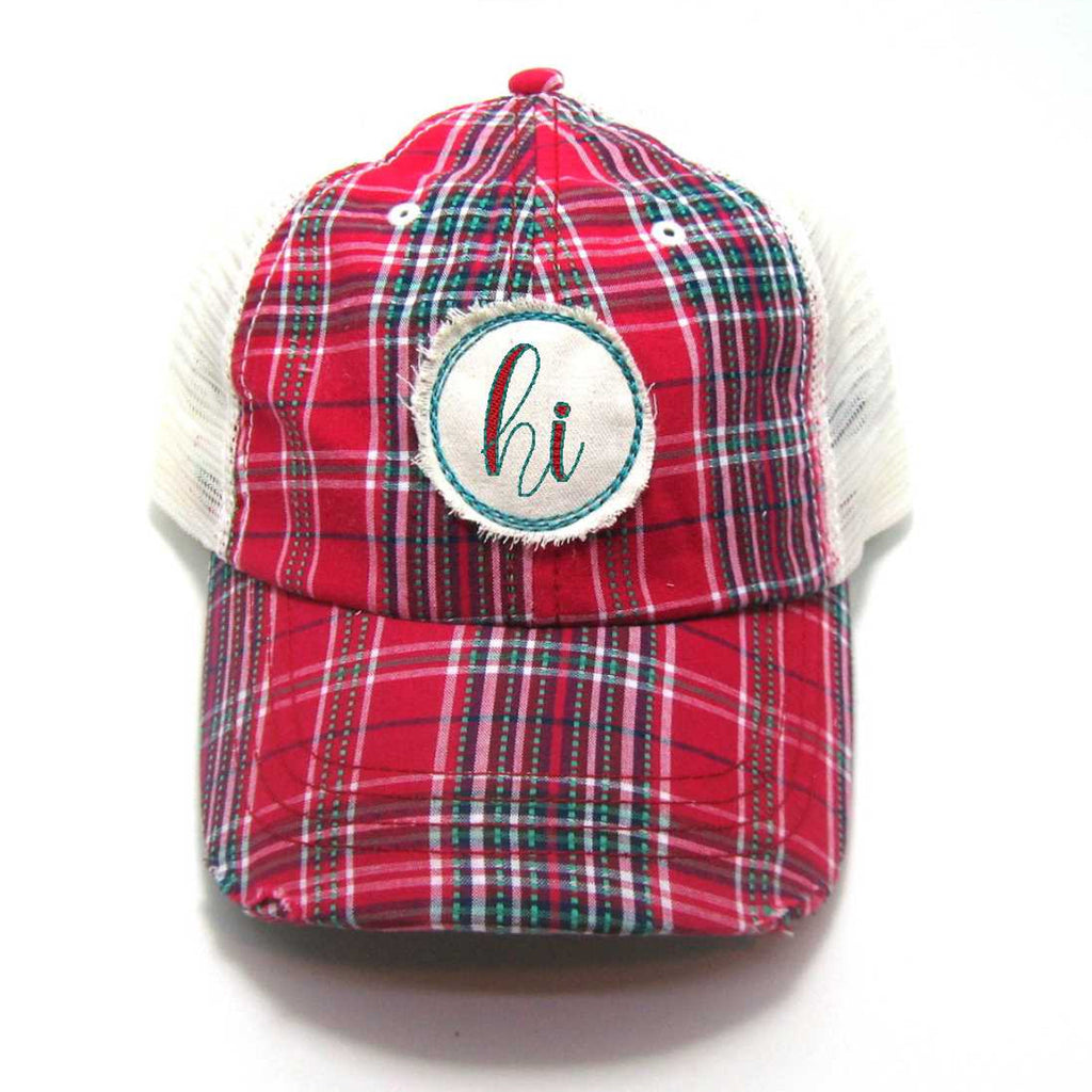 Red, Black, or Aqua Hawaii Hat - Plaid Script HI Distressed Patch