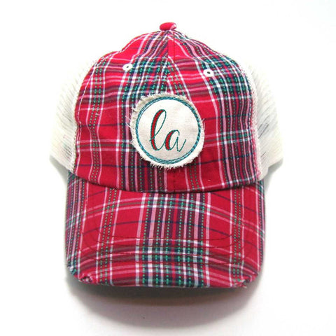 Louisiana Hat - Plaid Trucker with LA Distressed Patch