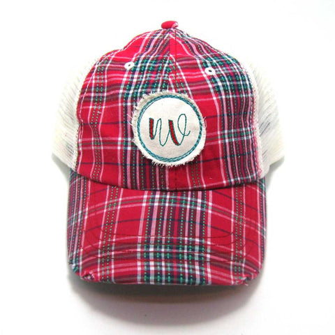 Nevada Hat - Plaid Trucker with NV Distressed Patch