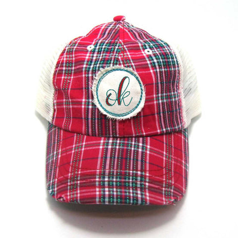 Red, Black, or Aqua Oklahoma Hat - Plaid Script OK Distressed Patch
