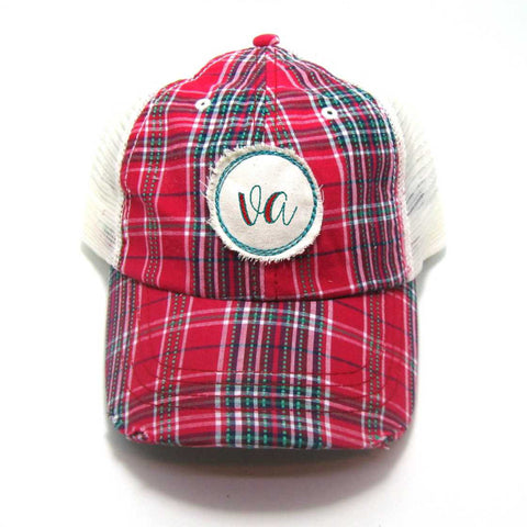 Virginia Hat - Plaid Trucker with VA Distressed Patch