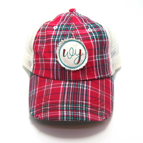 West Virginia Hat - Plaid Trucker with WV Distressed Patch