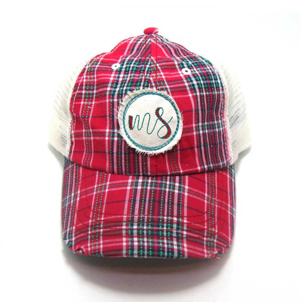 Red, Black, or Aqua Mississippi Hat - Plaid Script MS Distressed Patch