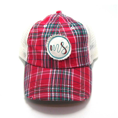 Mississippi Hat - Plaid Trucker with MS Distressed Patch