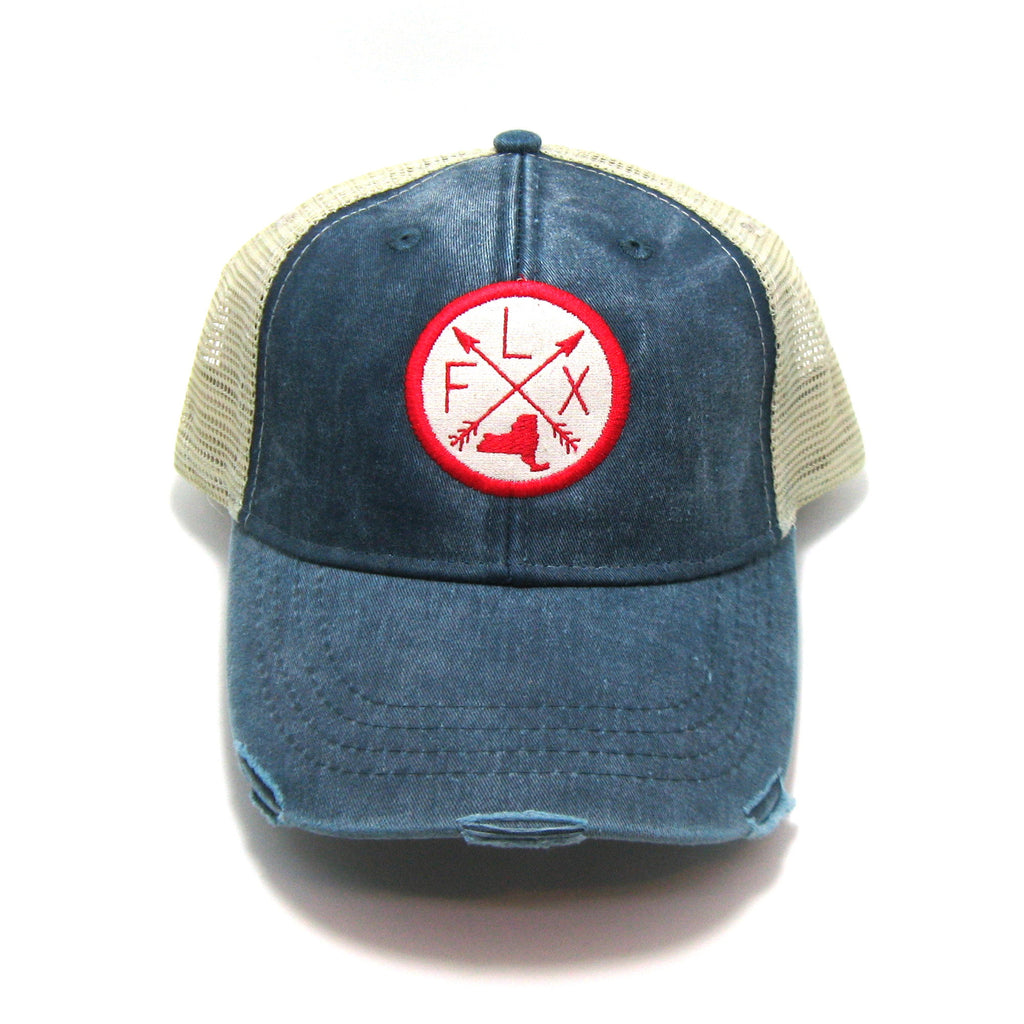 Finger Lakes Hat - Navy Distressed Snapback Trucker Hat - New York Arrow Compass