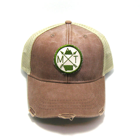 Montana Hat - Distressed Snapback Trucker Hat - Montana Arrow Compass