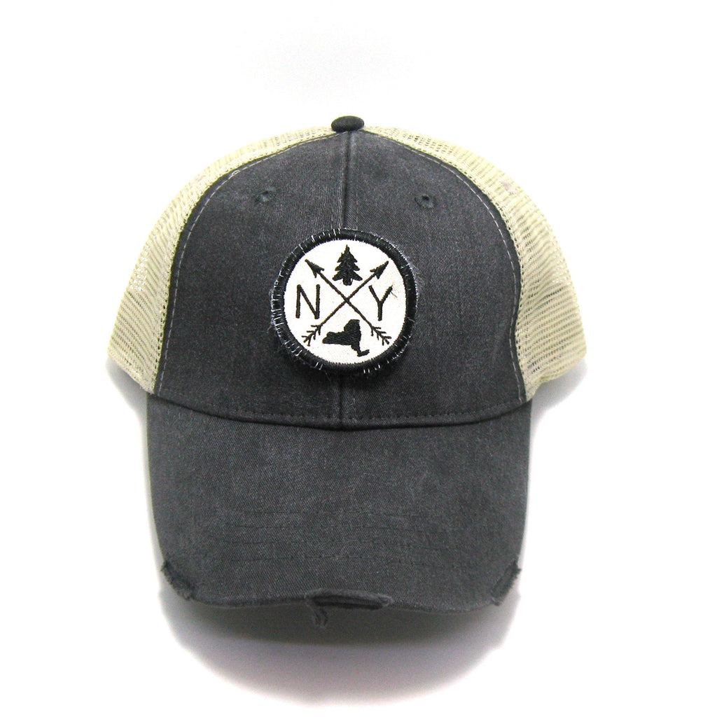 New York Hat - Distressed Snapback Trucker Hat - New York Arrow Compass