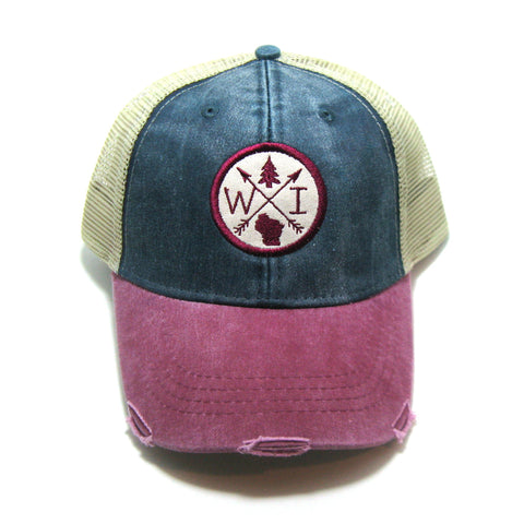 Wisconsin Hat - Navy Red Distressed Snapback Trucker Hat - Wisconsin Patched Arrow Compass