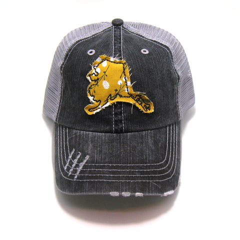 Alaska Hat - Distressed Trucker Cap - Many Fabric Choices