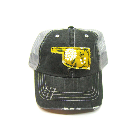 Oklahoma Hat - Distressed Trucker Cap - Many Fabric Choices