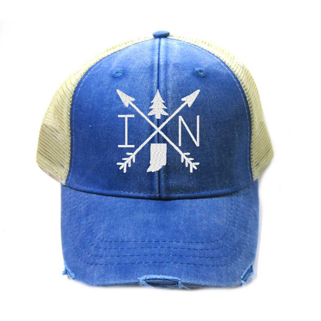 Indiana Hat - Distressed Snapback Trucker Hat - Indiana Arrow