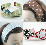 Wide Headband Reversible - Watercolor Floral & Retro Dots - ready to ship
