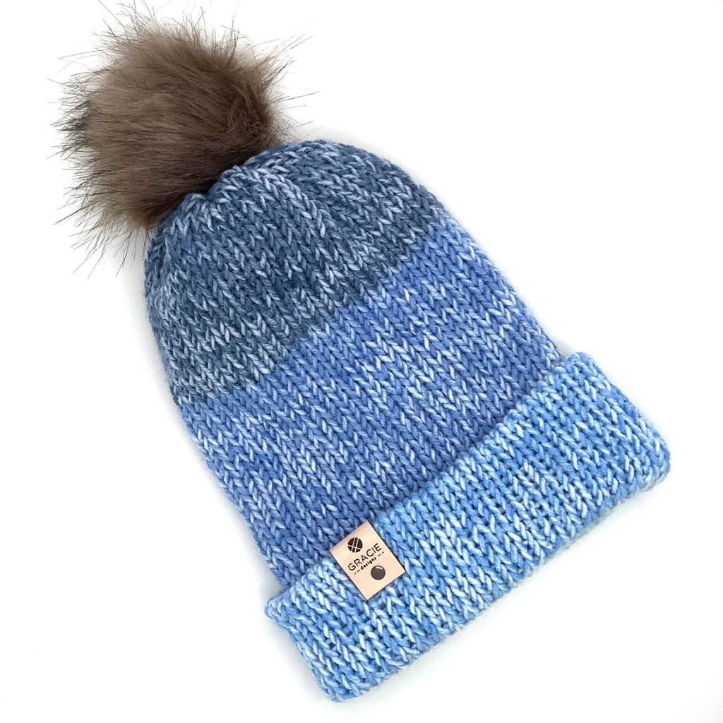 Gray Faux Fur Pom on Light Blue Knit Beanie - youth sized - ready to ship