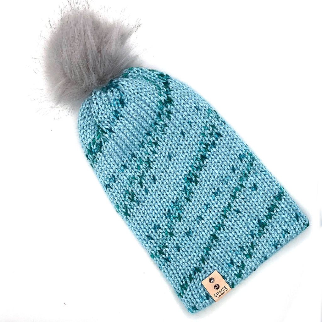 Gray Faux Fur Pom on Blue Knit Beanie - youth sized - ready to ship