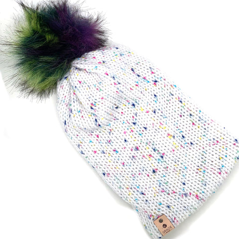 Bright Faux Fur Pom on Confetti Knit Beanie - adult sized slouchy - ready to ship