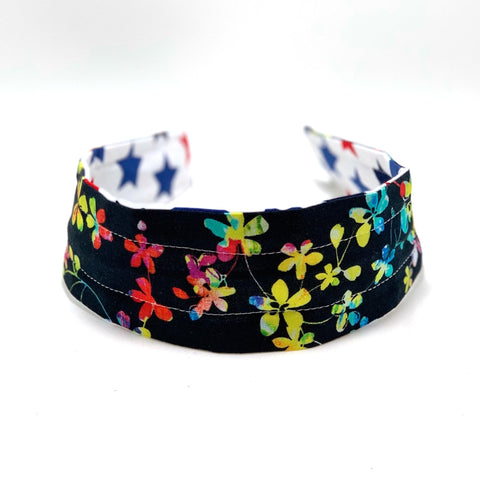 Wide Headband Reversible - Americana Stars & Watercolor Floral - ready to ship