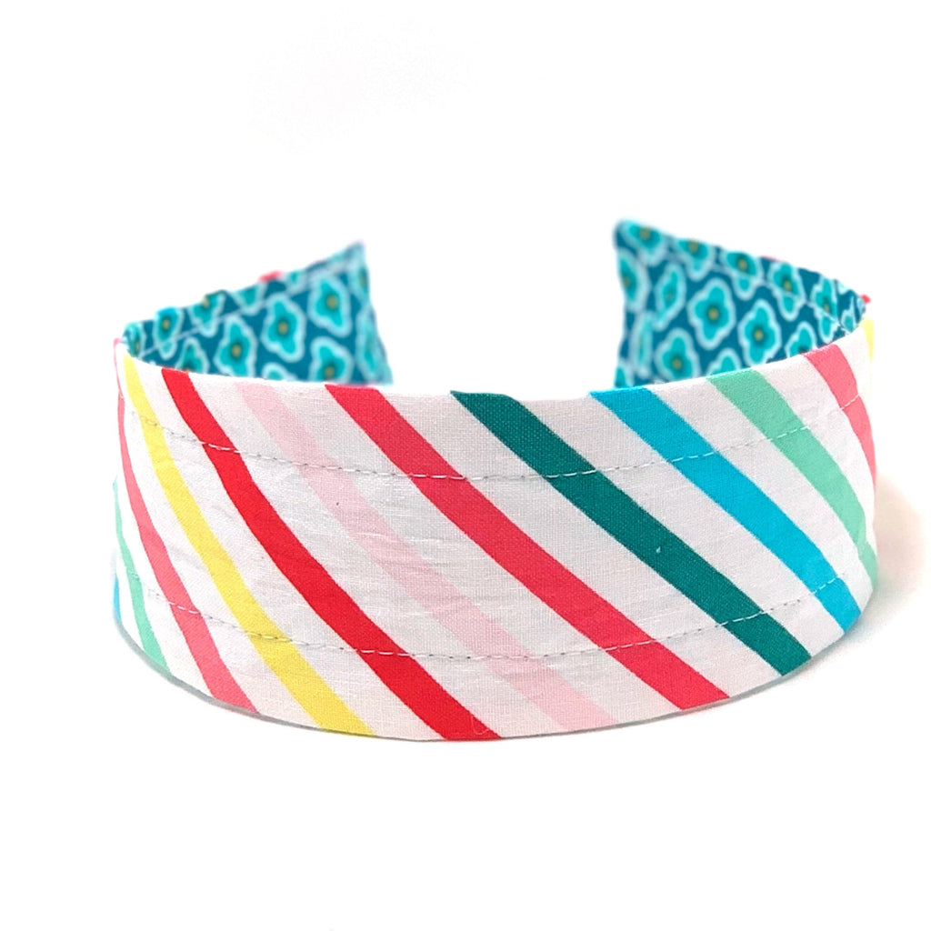 Wide Headband Reversible - Aqua Mosaic & Bright Stripes - ready to ship