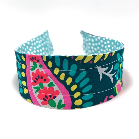 Wide Headband Reversible - Big Bright Floral & Aqua Dots - ready to ship