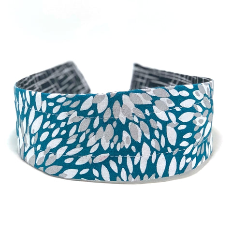Wide Headband Reversible - Teal Silver Leaves & Black Hatch - ready to ship