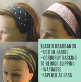Elastic Washable Headband - Bright Blue with Bird - ready to ship
