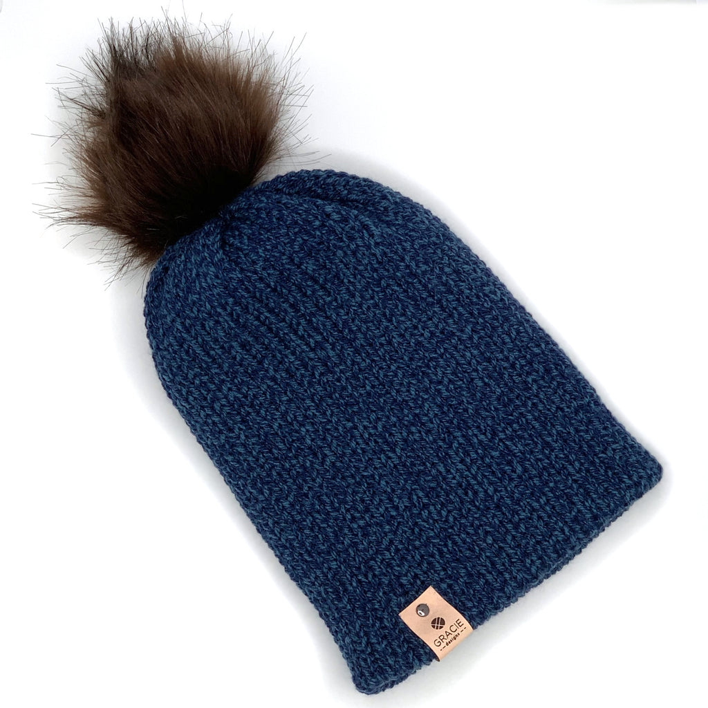 Brown Faux Fur Pom on Navy Knit Beanie - youth sized - ready to ship
