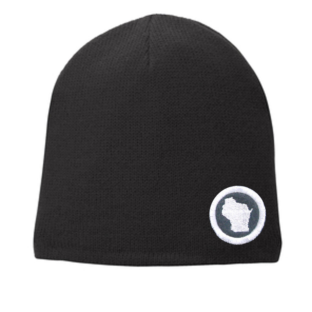 State Beanie Black - White on Gray Mini Patch Hat - Any State