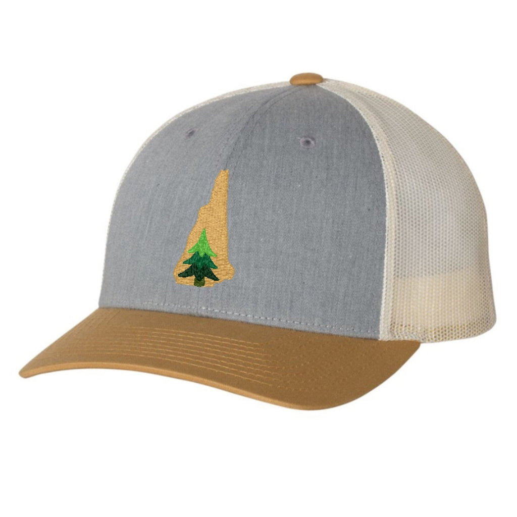 New Hampshire Pine Tree Hat - Mustard and Gray
