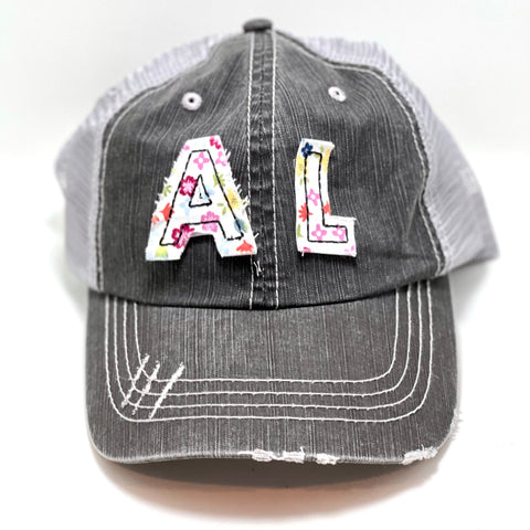 Alabama Initials Cap - Ponytail or Messy Bun Trucker hat - Many Fabric Choices