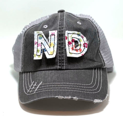 North Dakota Initials Hat - Distressed Trucker Cap - Many Fabric Choices