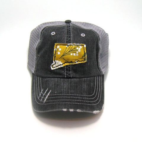 Connecticut Hat - Distressed Trucker Cap - Many Fabric Choices