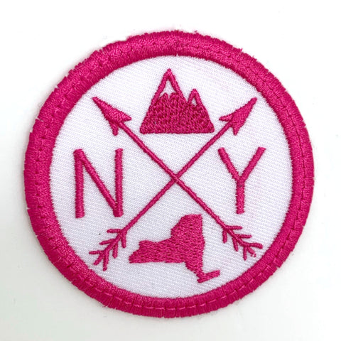 Pick Your State Iron-on Patch - hot pink on white