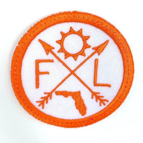 Pick Your State Iron-on Patch - orange on white