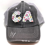 California Initials Cap - Ponytail or Messy Bun Trucker  Initials Cap  - Many Fabric Choices
