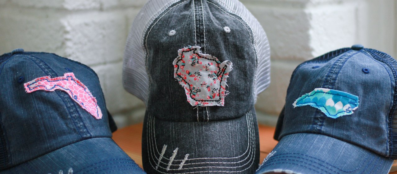 trucker hats with fabric state patches