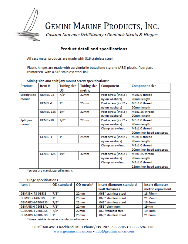 Gemini Marine Products product specifications