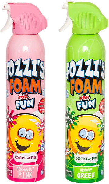 FOZZI's Bath Foam Aerosol for Kids, Groovy Green and Perfectly Pink, Good Clean Fun, 11.49 ounces (340ml) Each (Pack of 2) (Free Shipping)