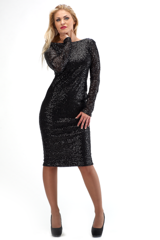 MILA SEQUIN LONG SLEEVE KNEE DRESS