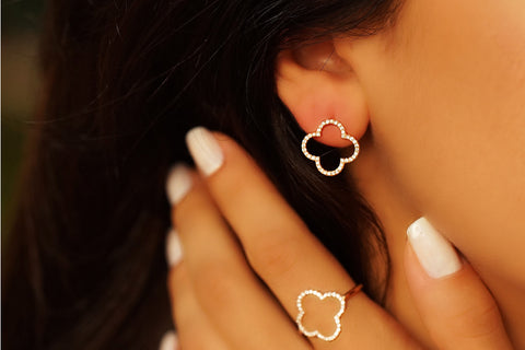 Earrings Diamond Clover